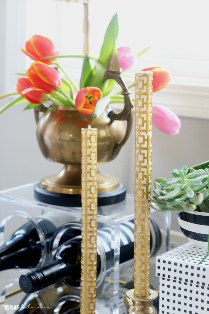 Adding a few Spring Touches to the Bar Cart   Spring Bar Cart Styling in the Dining Room   This is our Bliss