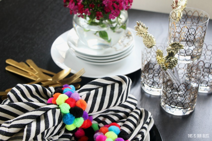 My Dollar Store DIY | All Things Summer | DIY Colorful Pom-Pom Napkin Ring Holders | www.thisisourbliss.com