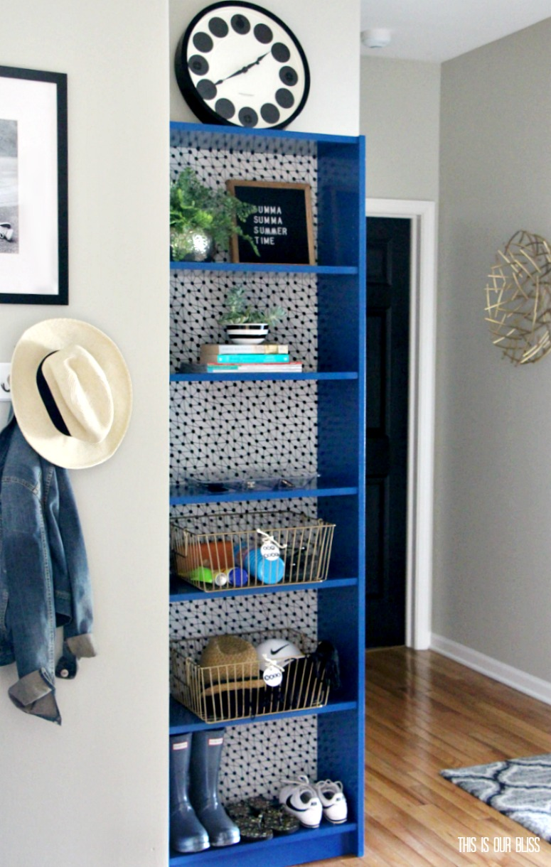 Ikea Hack Bookcase Makeover With Wallpaper Amp Paint