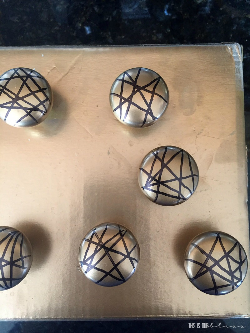 DIY Black and Gold Geometric Knobs   $100 Room Challenge   Pretty In Pink Powder Room Refresh