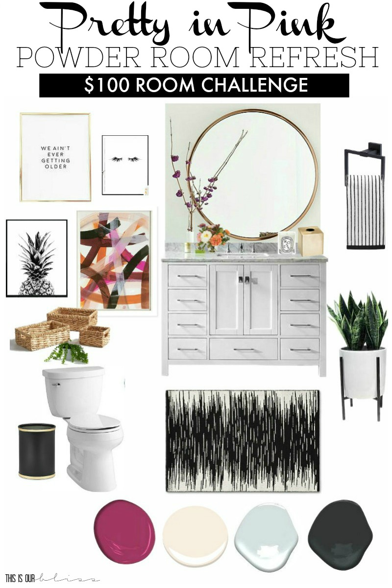 $100 Room Challenge | Pretty in Pink Powder Room Refresh Mood/Inspiration Board