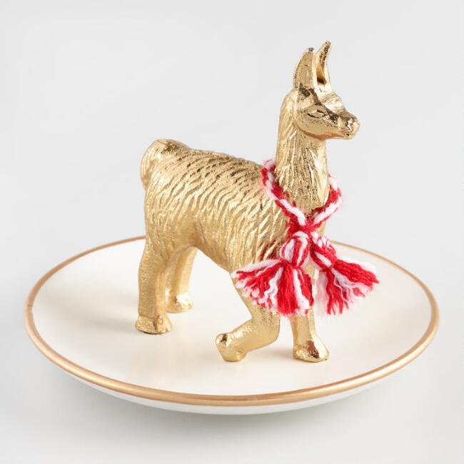 Golden Llama Treasure Hunt | Llama Trinket Dish at Cost Plus World Market