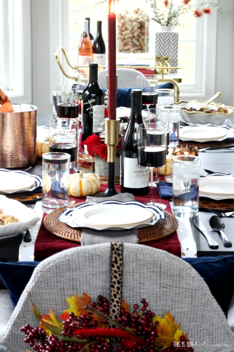A Navy Blue Amp Burgundy Thanksgiving Table This Is Our Bliss