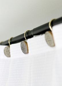 white and gold shower curtain hooks