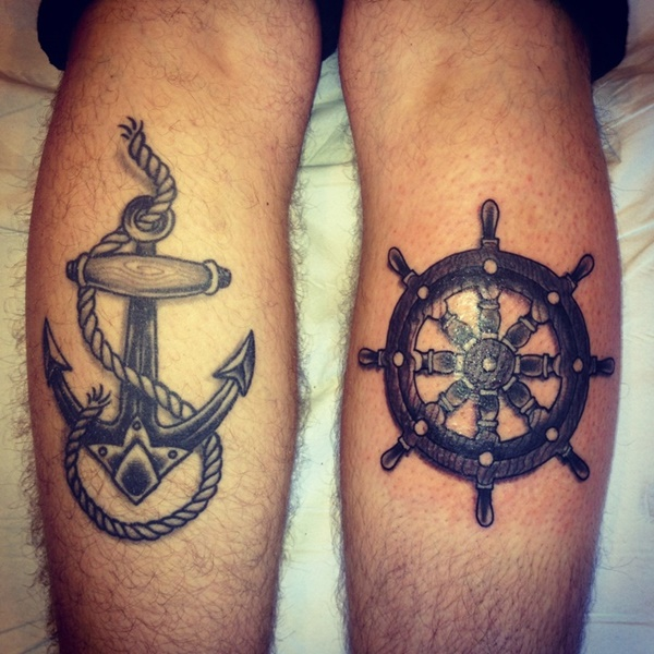 Anchor And Captains Wheel Tattoo