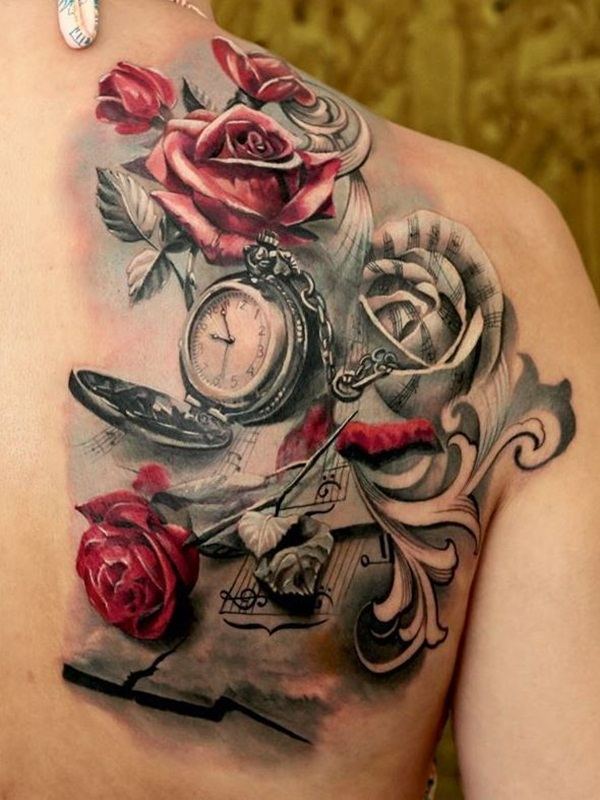 Clock And Roses Tattoo Drawings