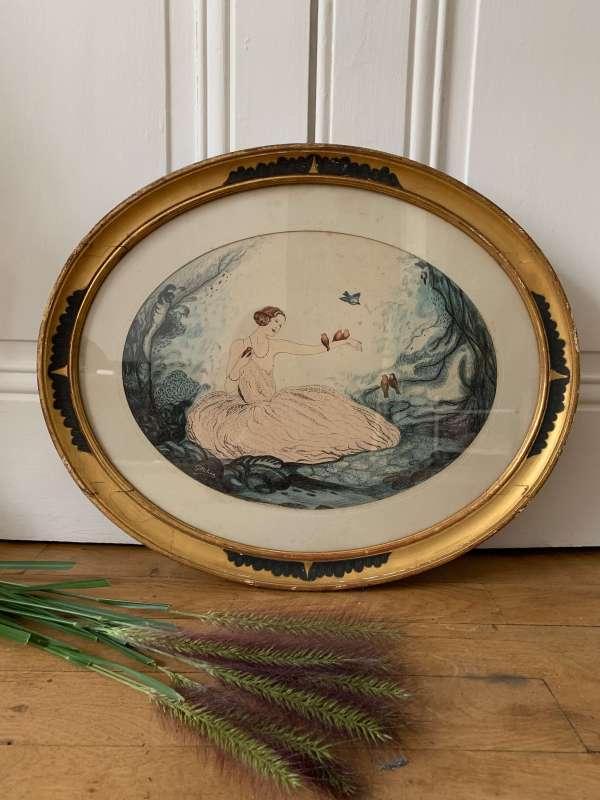 """Dessin au crayon et aquarelle de G.Bibian représentant une """"charmeuse d'oiseaux""""."""