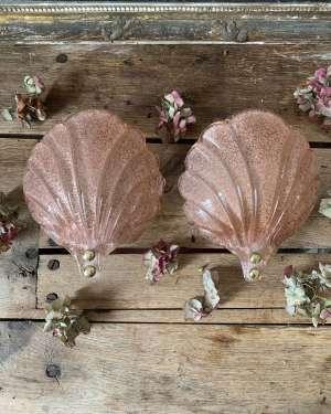 Paire d'appliques lumineuse en verre de murano coquillages vintage