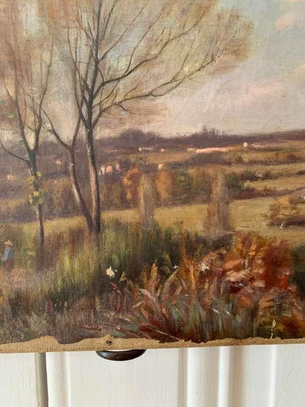 ancienne huile sur toile paysage début 20 ème