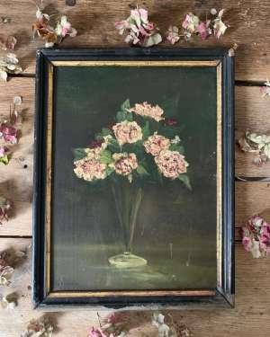 ancienne peinture fleurs à l'huile dans son cadre en bois noir