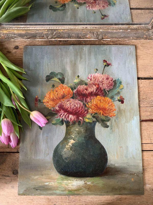 ancienne peinture fleurs dalia huile
