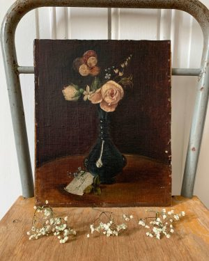 ancienne peinture fleurs huile sur toile 19eme