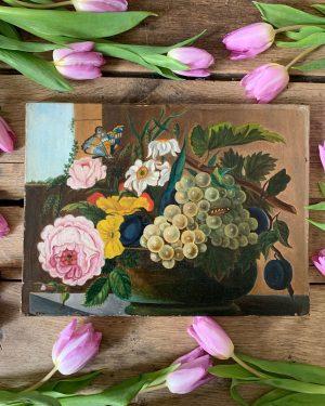 ancienne peinture fleurs huile sur toile