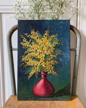 ancienne peinture à l'huile mimosa