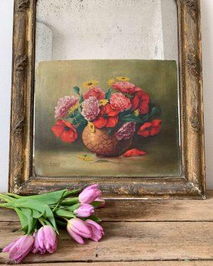 ancienne peinture fleurs coquelicot huile