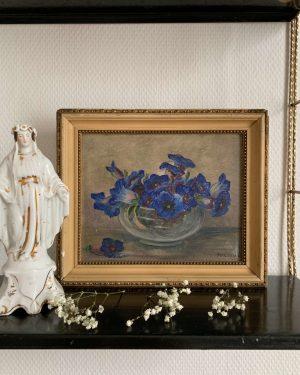 ancienne peinture fleurs bleues