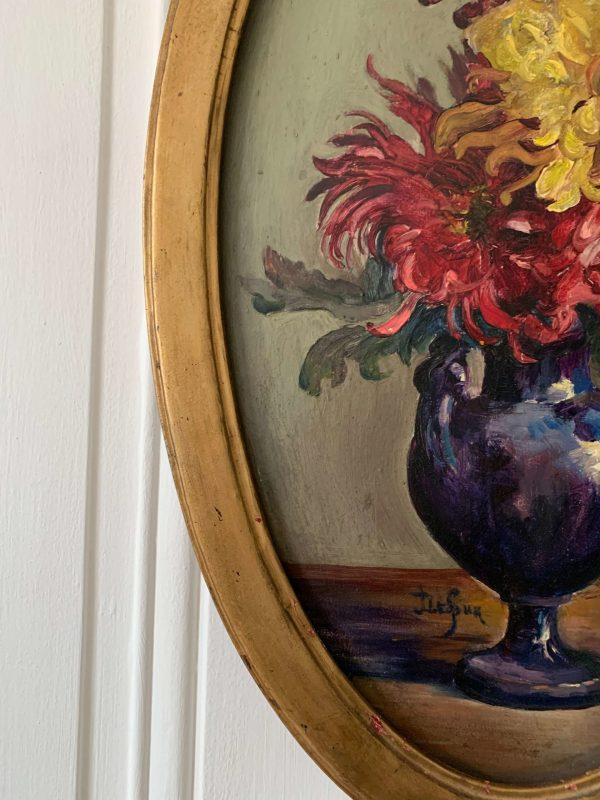 peinture à l'huile ancienne fleurs
