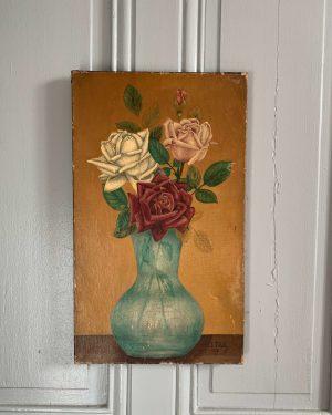 ancienne peinture à l'huile fleurs roses