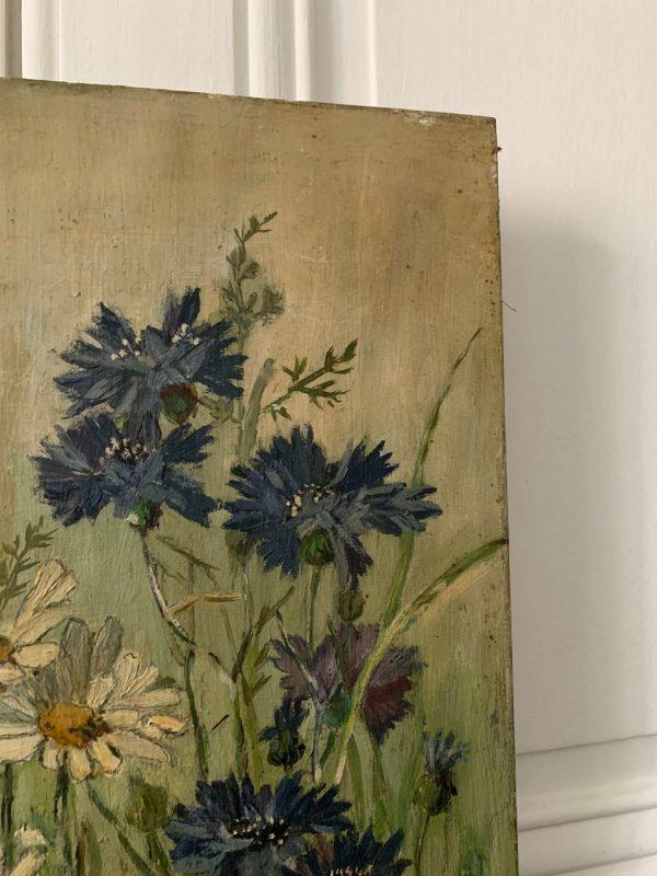 ancienne peinture à l'huile fleurs