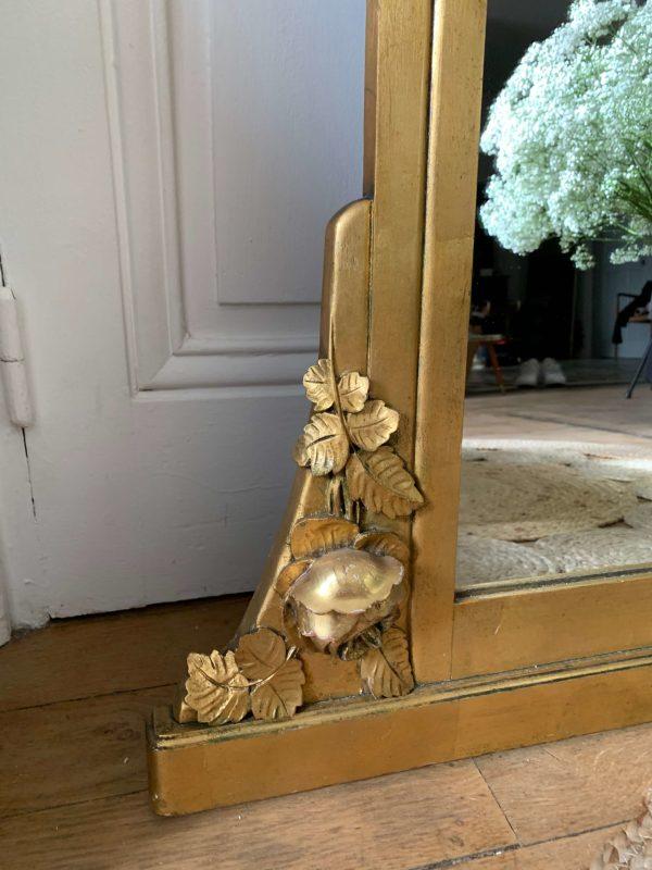 ancien miroir art deco brocante moulures roses dorees