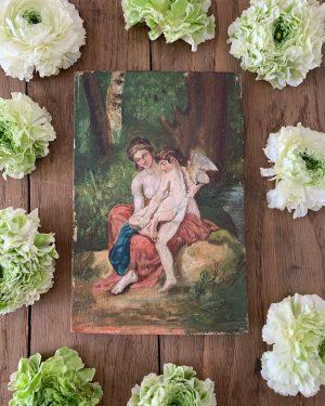 ancienne peinture à l'huile cupidon et venus 19ème