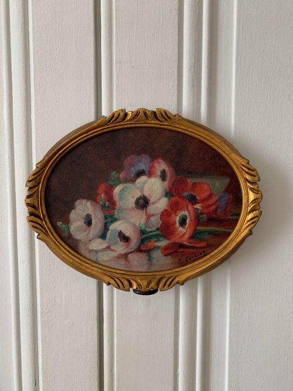 ancienne peinture fleurs a l'huile