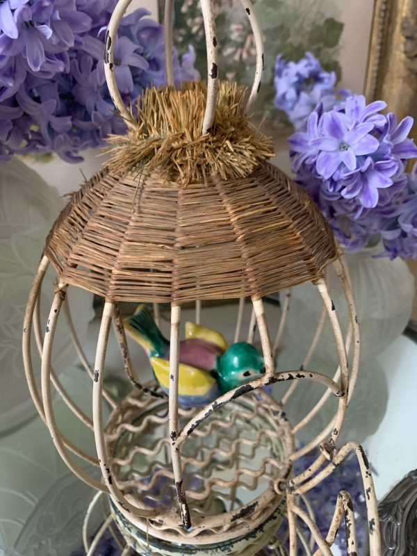 ancienne petite cage à oiseaux vintage oiseau céramique ancienne lampe