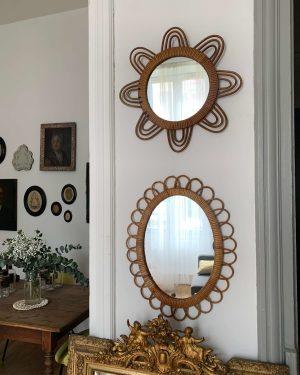 ancien miroir en rotin vintage