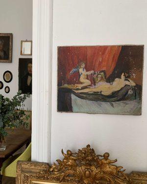 ancienne peinture huile sur toile cupidon début 20ème