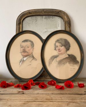 anciens portraits pastel d'un couple début 20ème