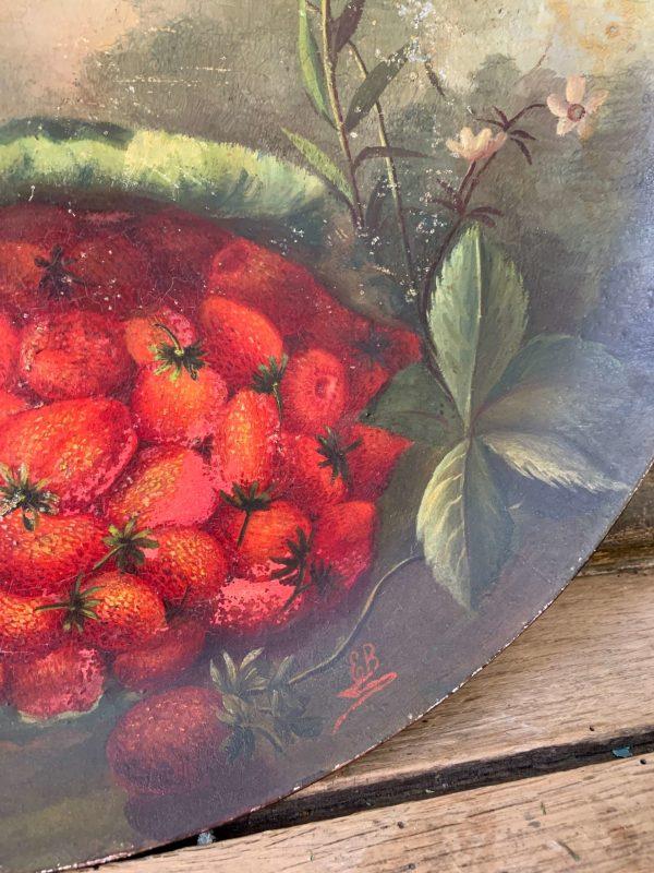 ancien plat en terre cuite peint datant du 19eme siecle fruits