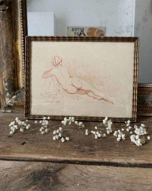 ancienne estampe de femme nue signée fragonard