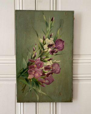 ancienne huile sur toile peinture de fleurs