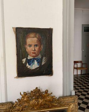 ancienne peinture à l'huile portrait petit garçon