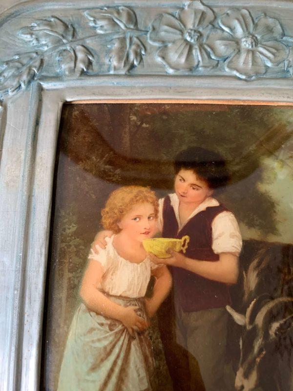ancien fixé sous verre du 19eme siècle
