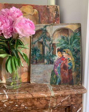 ancienne peinture à l'huile de 'espagne par francsique martin début 20ème