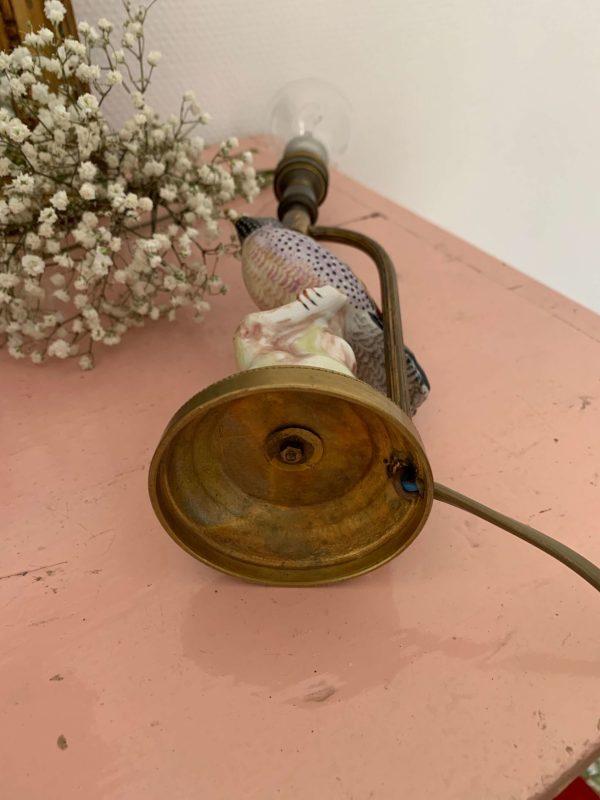 ancienne lampe oiseau ceramique deco
