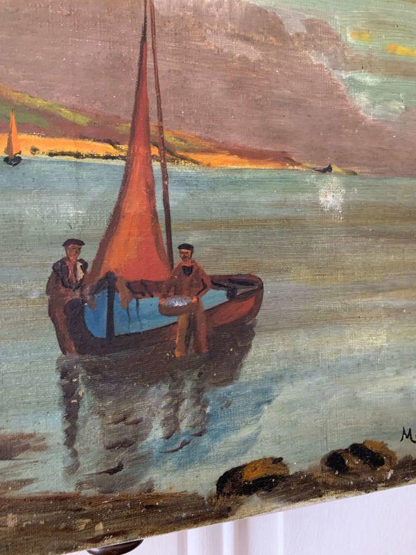ancienne peinture à l'huile marine sur toile