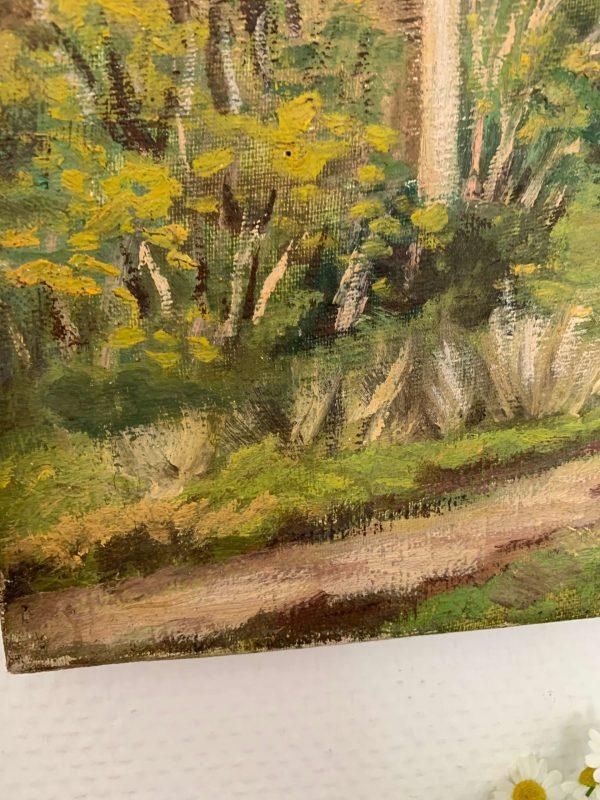 ancienne peinture à l'huile sur toile paysage champetre