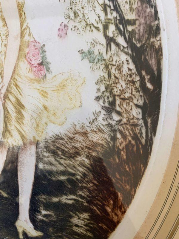 ancienne gravure rehaussée art deco