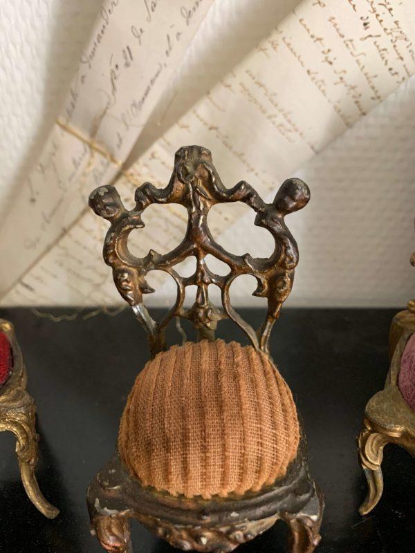 ancien porte montre de gousset en regule et velours epoque 19eme