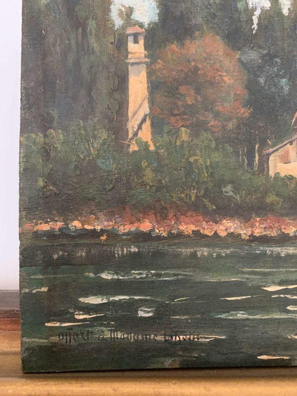ancienne peinture à l'huile paysage début 20ème