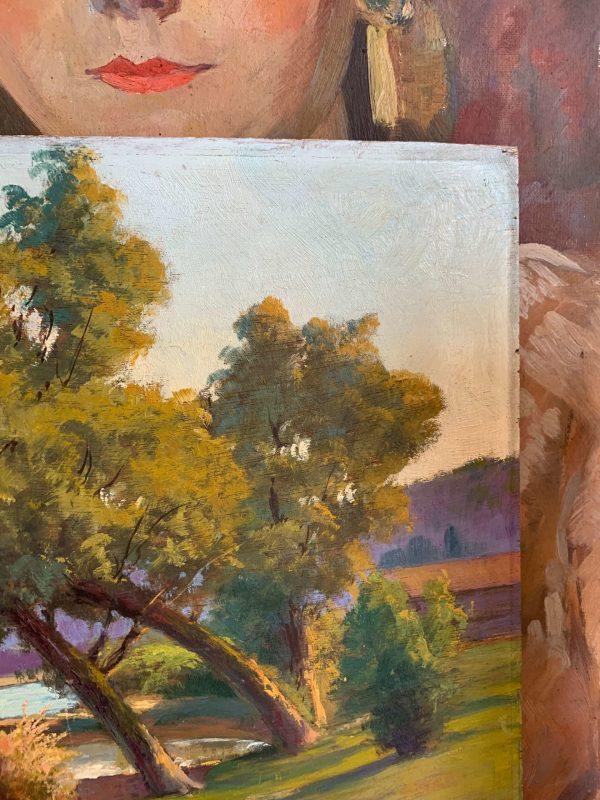ancienne peinture à l'huile sur bois bords de saone