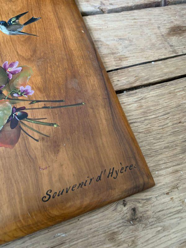 ancienne peinture à l'huile sur bois hirondelles et fleurs
