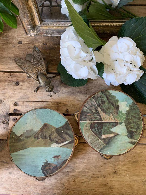 anciennes peintures sur tambourins vers 1900 paysage