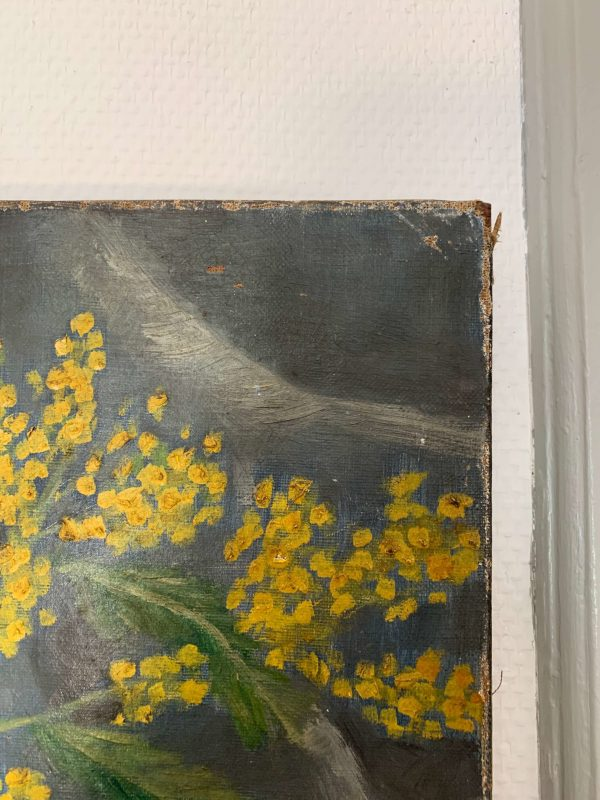 ancienne huile sur toile fleurs mimosa et violettes