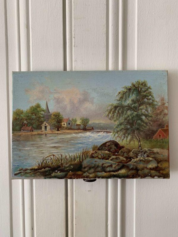 ancienne peinture à l'huile paysage du 19ème siècle