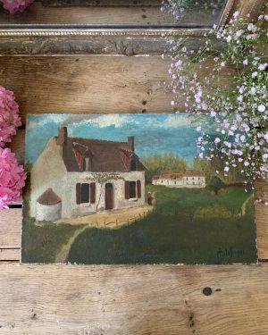ancienne peinture à l'huile paysage de campagne vers 1900