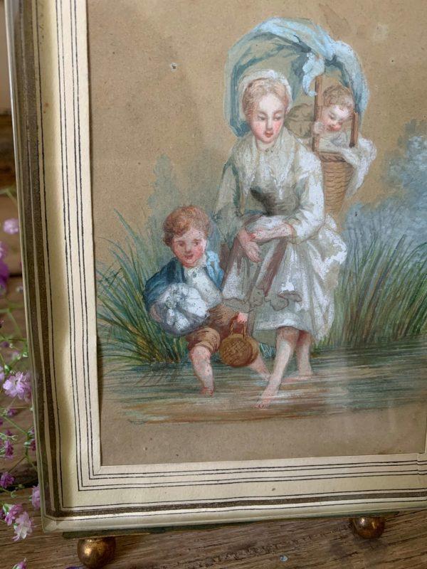 ancienne peinture aquarelle et pastel 19ème