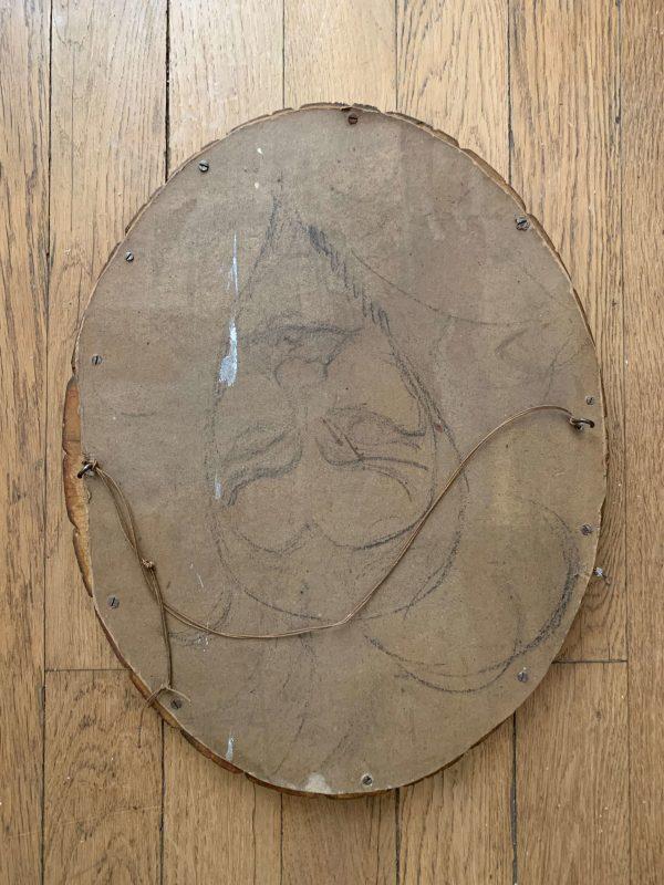 ancien pastel femme cadre oval